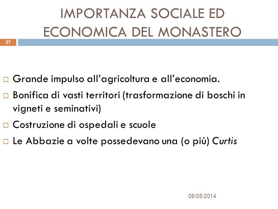 IMPORTANZA SOCIALE ED ECONOMICA DEL MONASTERO