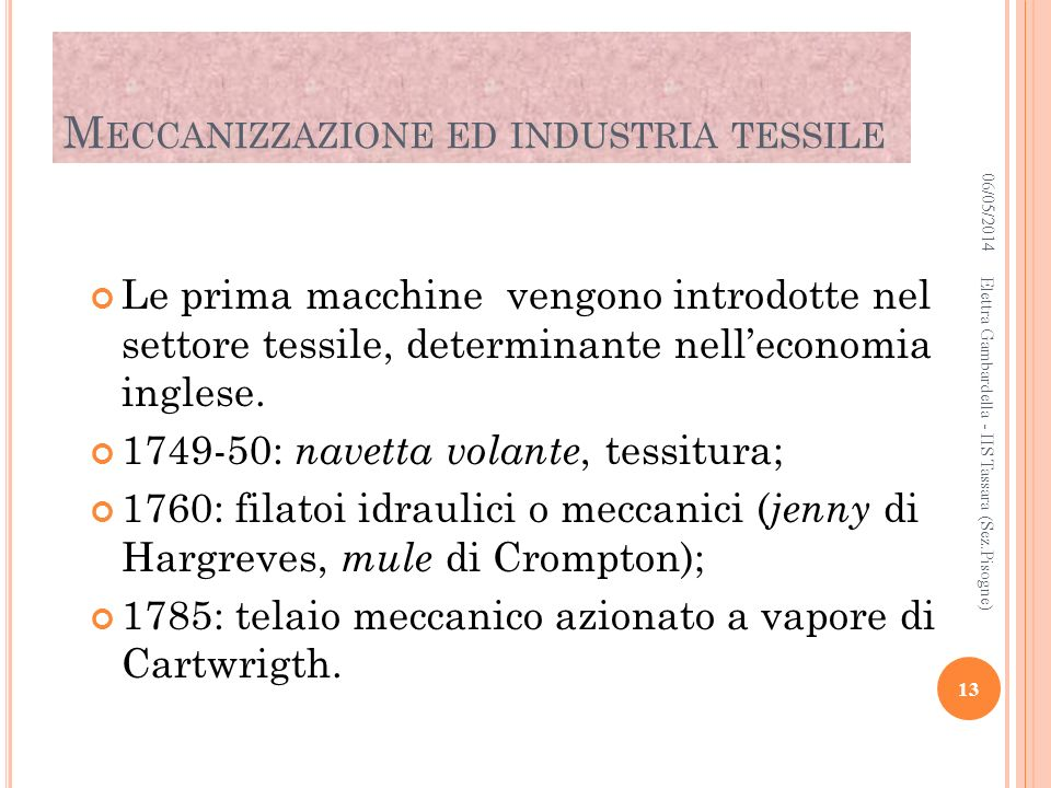 Meccanizzazione ed industria tessile