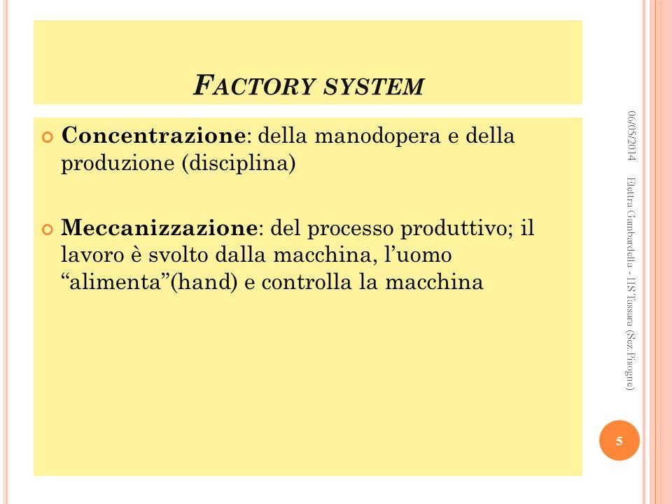 Factory system 29/03/2017. Concentrazione: della manodopera e della produzione (disciplina)