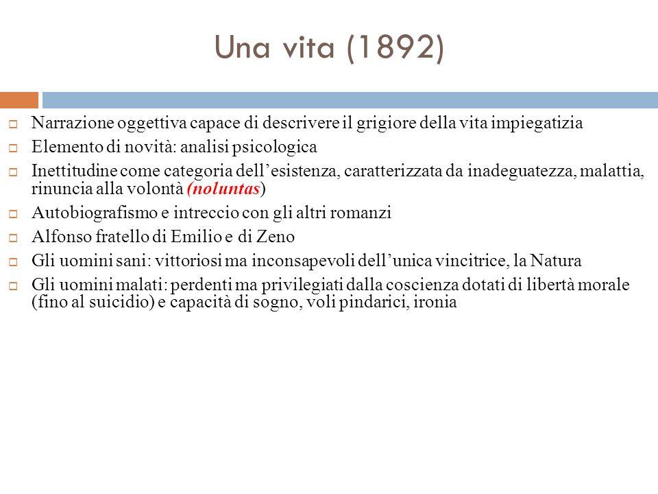 Una vita (1892) Narrazione oggettiva capace di descrivere il grigiore della vita impiegatizia. Elemento di novità: analisi psicologica.