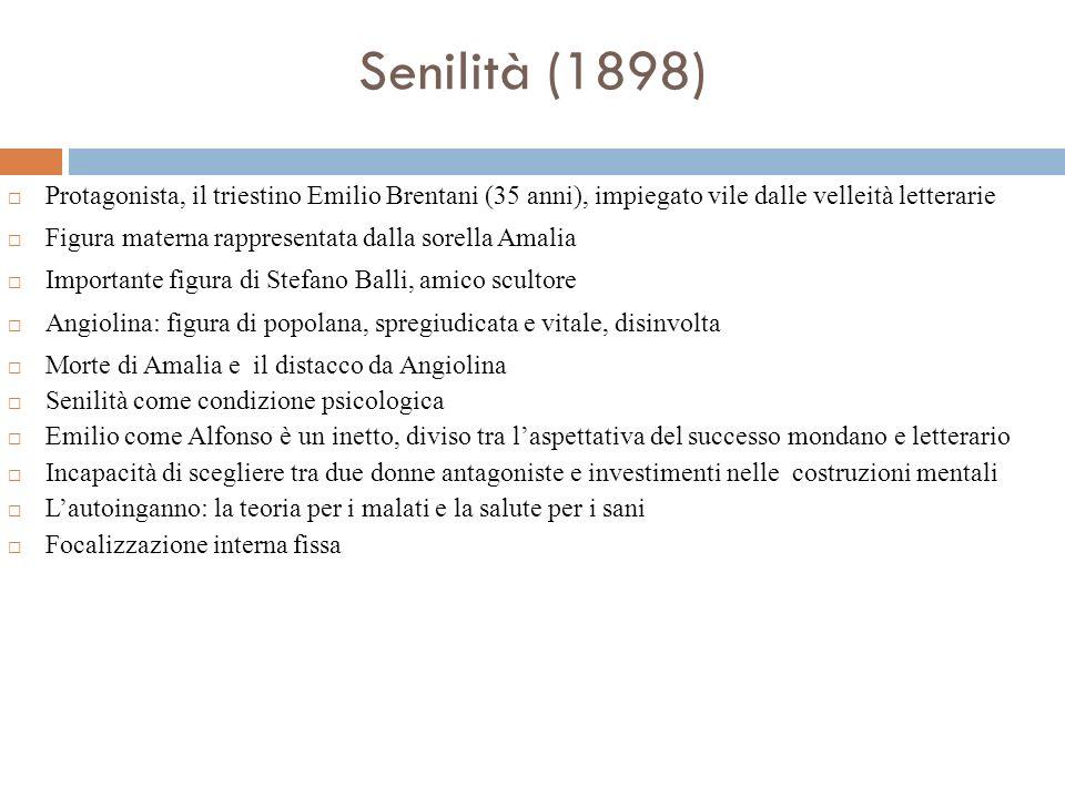 Senilità (1898)Protagonista, il triestino Emilio Brentani (35 anni), impiegato vile dalle velleità letterarie.