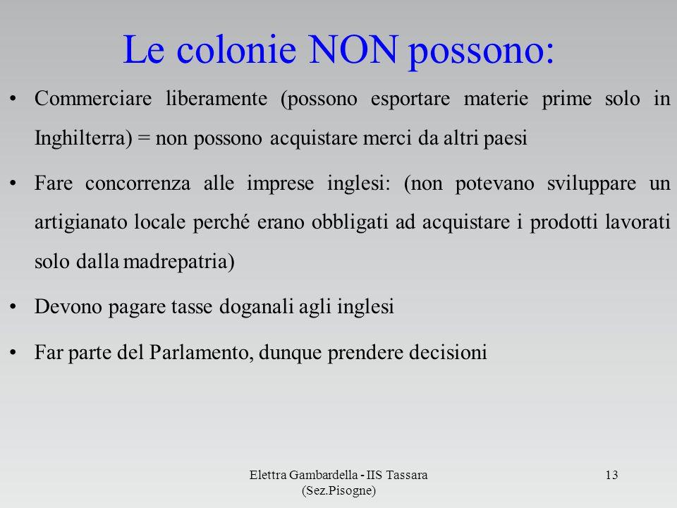 Le colonie NON possono: