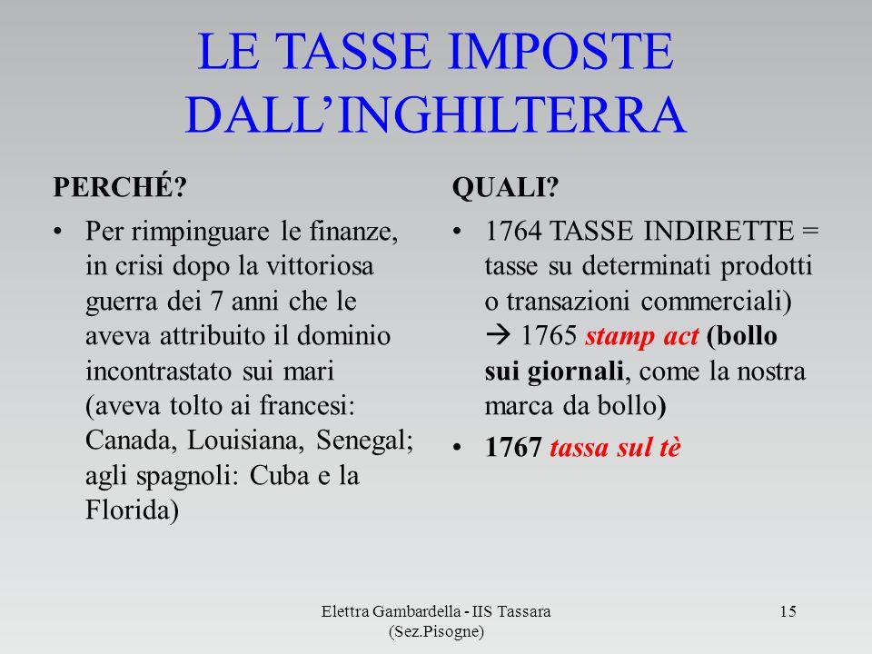 LE TASSE IMPOSTE DALL'INGHILTERRA