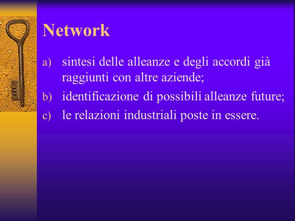 Network sintesi delle alleanze e degli accordi già raggiunti con altre aziende; identificazione di possibili alleanze future;