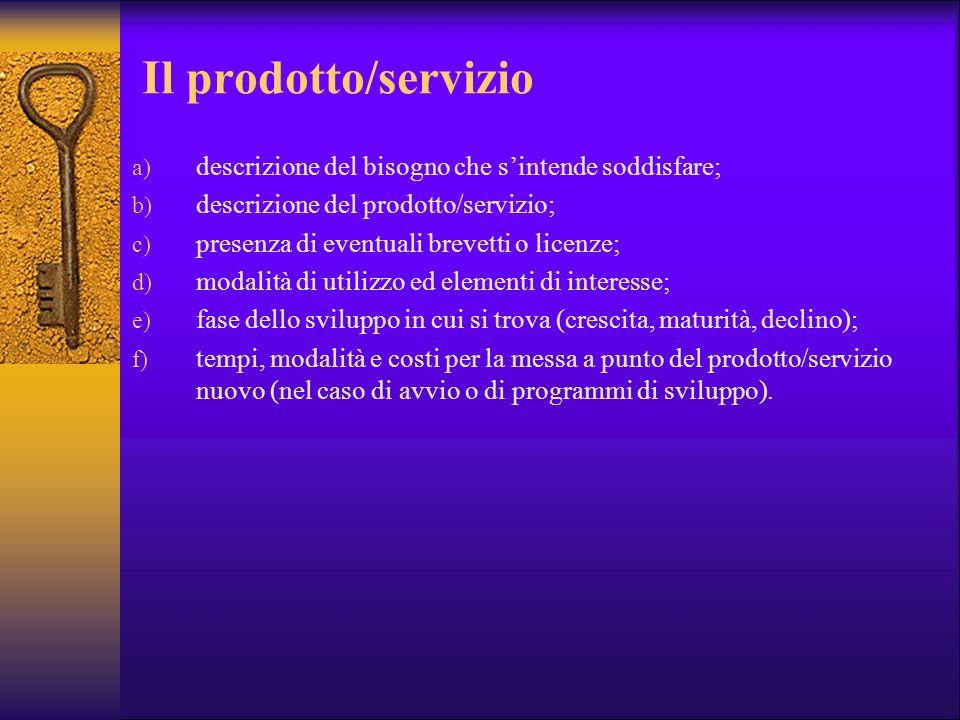 Il prodotto/servizio descrizione del bisogno che s'intende soddisfare;