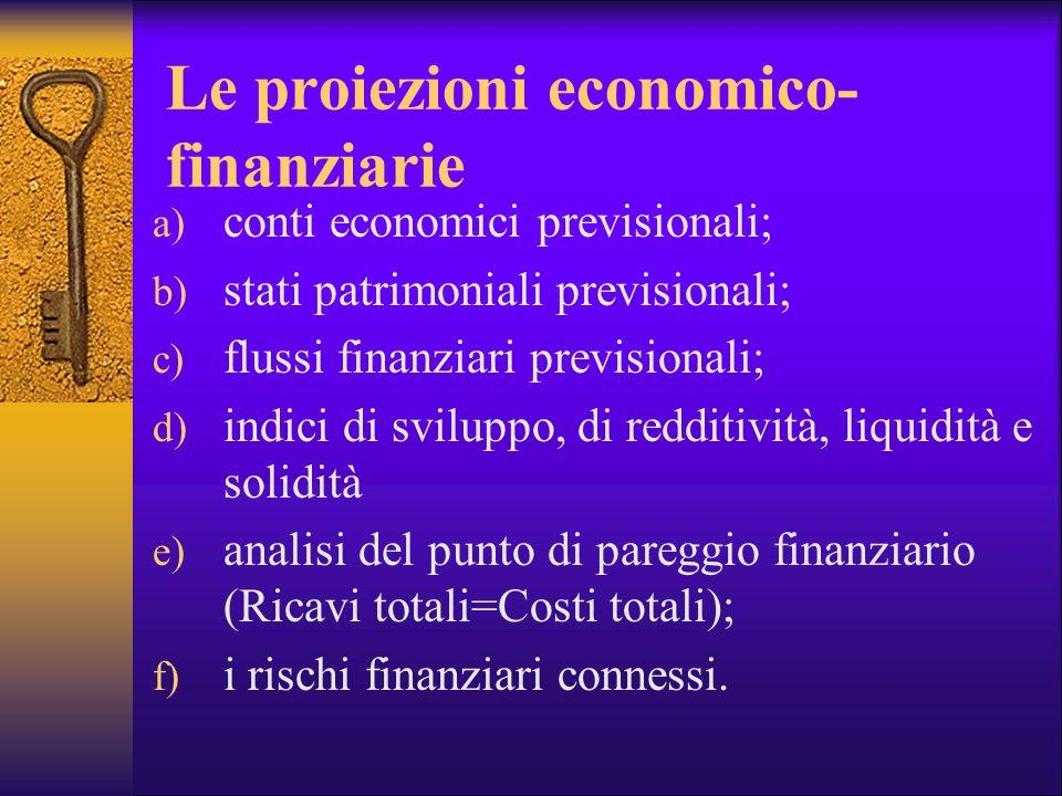 Le proiezioni economico-finanziarie