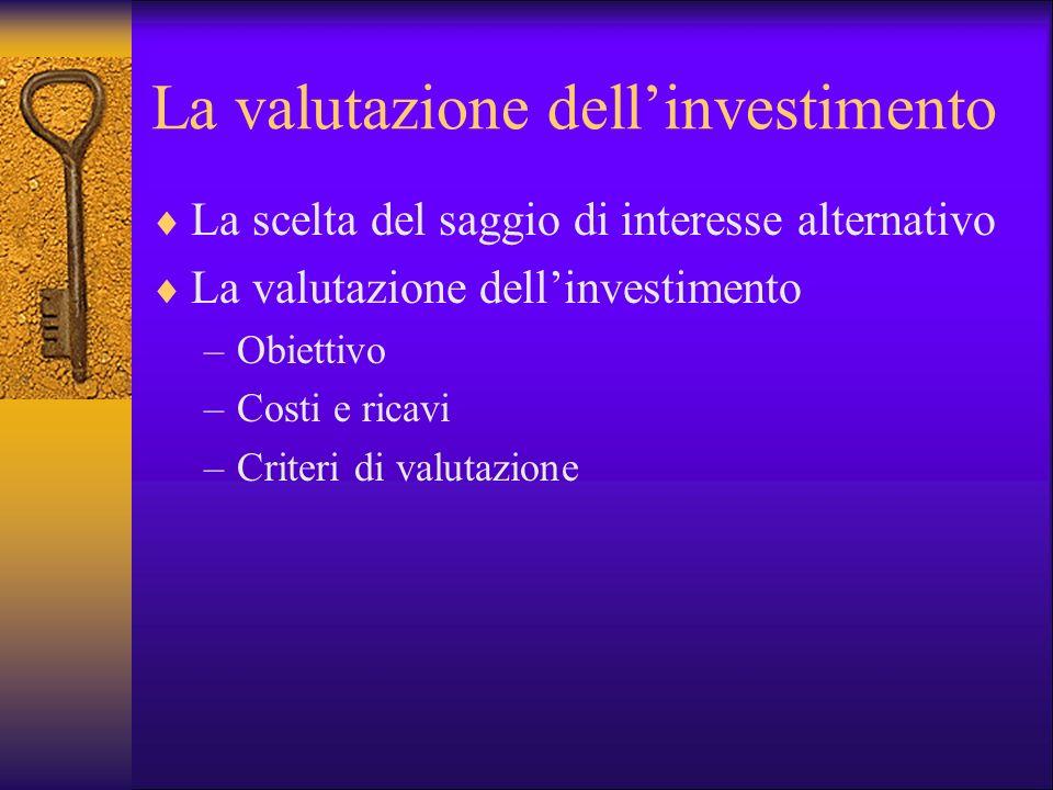 La valutazione dell'investimento