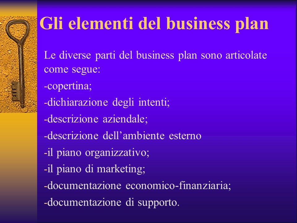 Gli elementi del business plan