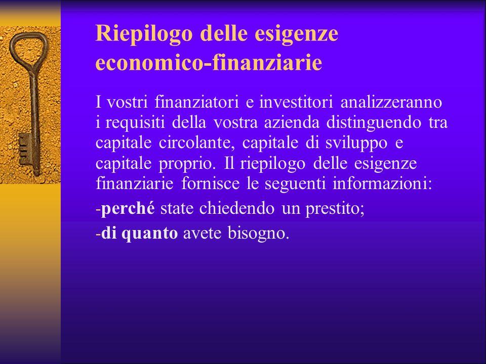 Riepilogo delle esigenze economico-finanziarie