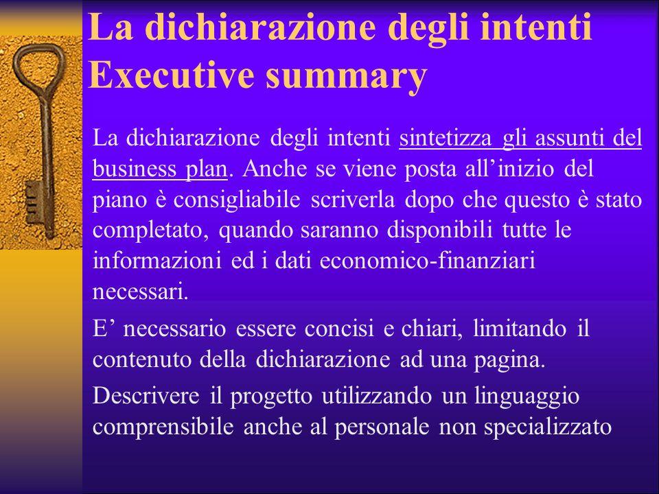 La dichiarazione degli intenti Executive summary