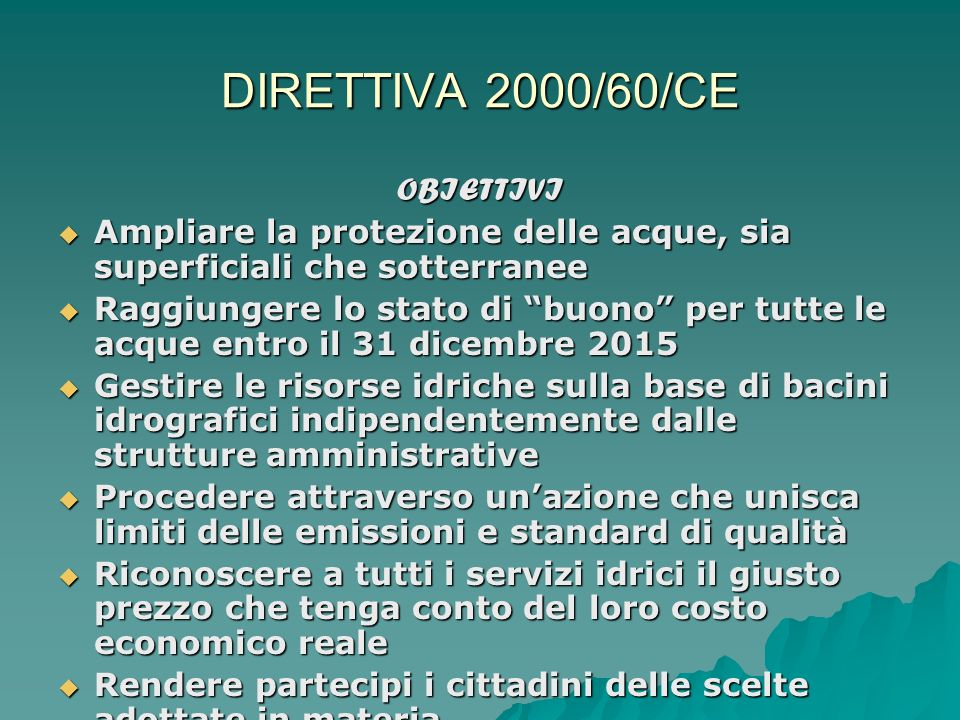 DIRETTIVA 2000/60/CE OBIETTIVI