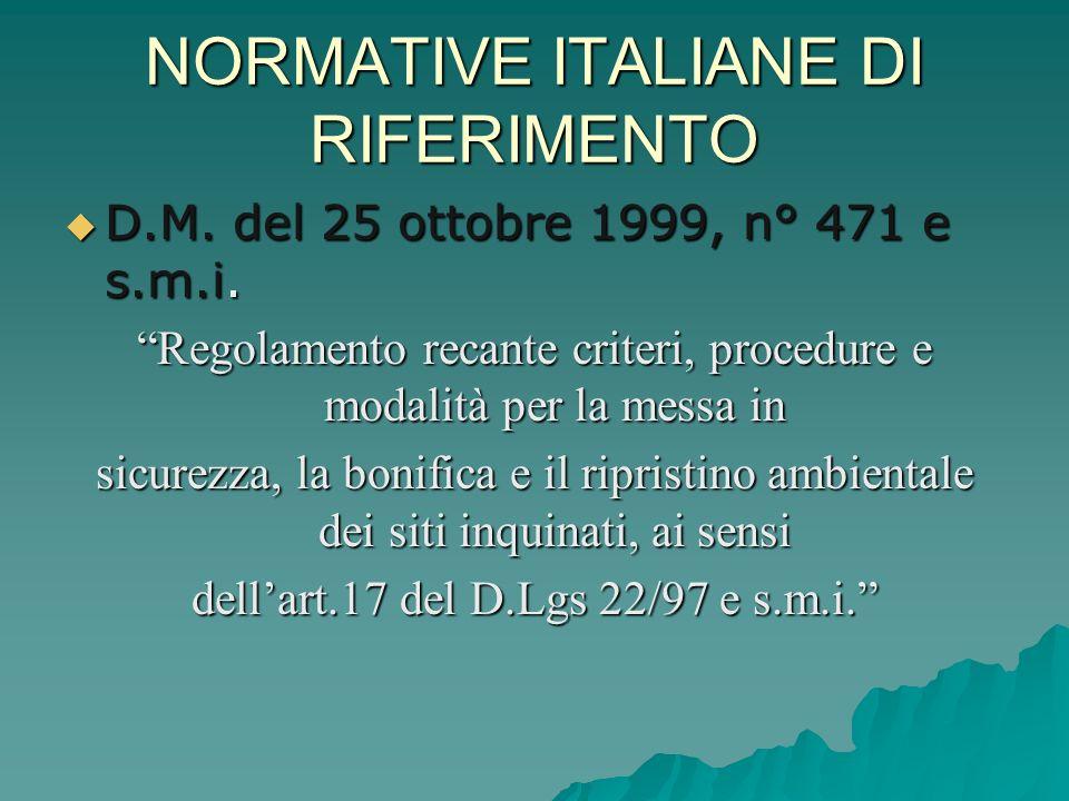 NORMATIVE ITALIANE DI RIFERIMENTO