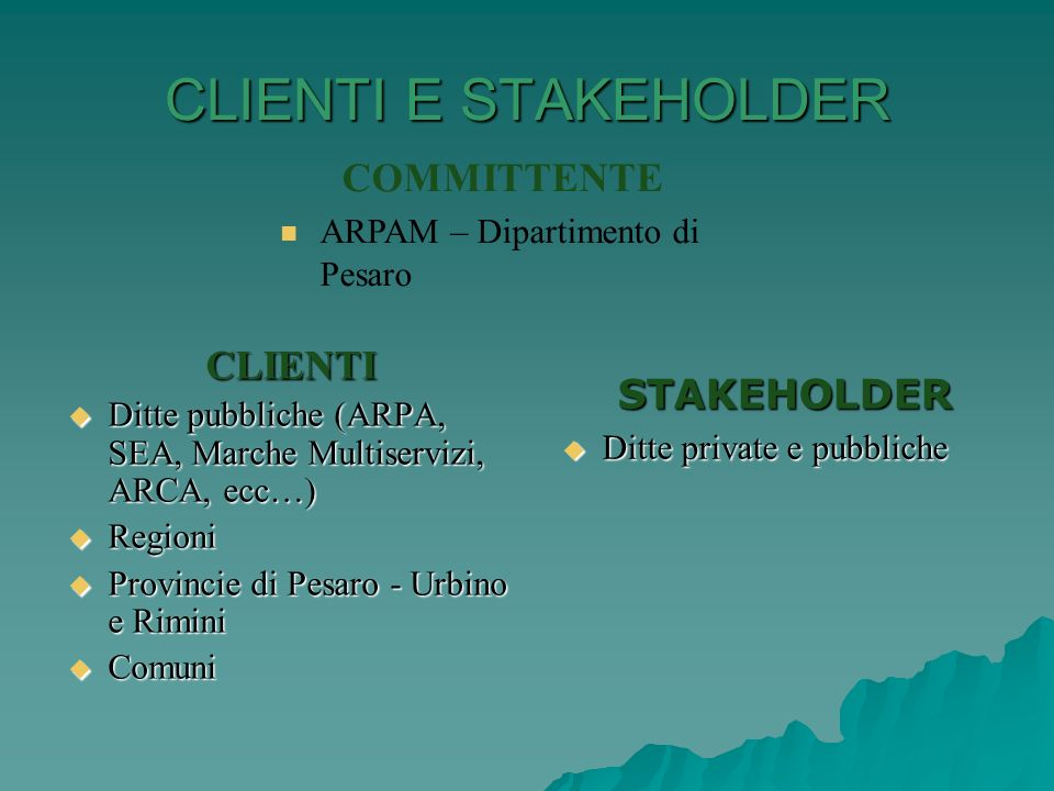 CLIENTI E STAKEHOLDER COMMITTENTE CLIENTI STAKEHOLDER