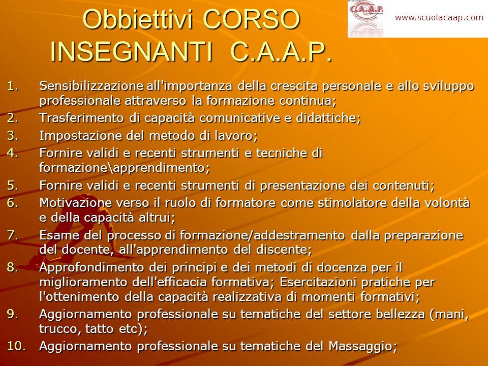 Obbiettivi CORSO INSEGNANTI C.A.A.P.