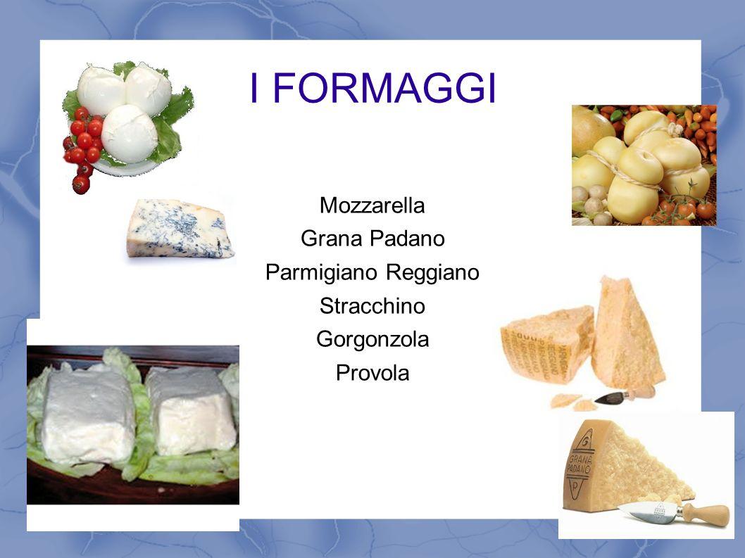 I FORMAGGI Mozzarella Grana Padano Parmigiano Reggiano Stracchino