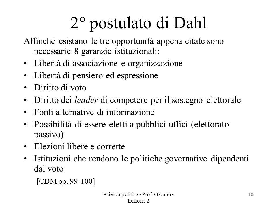 Scienza politica - Prof. Ozzano - Lezione 2
