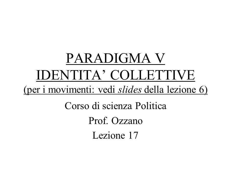 Corso di scienza Politica Prof. Ozzano Lezione 17