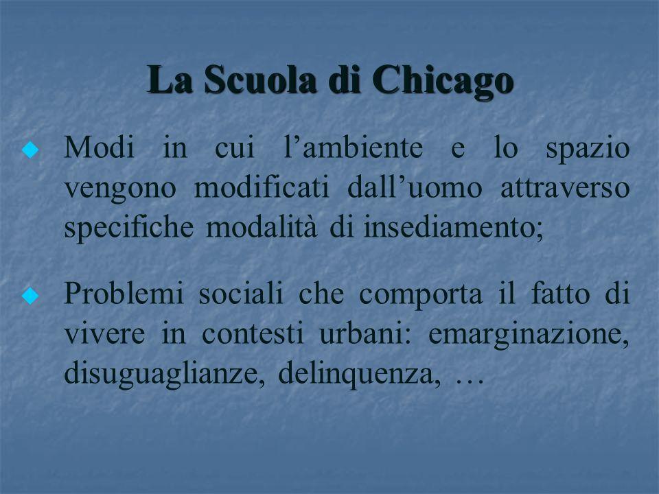 La Scuola di Chicago Modi in cui l'ambiente e lo spazio vengono modificati dall'uomo attraverso specifiche modalità di insediamento;