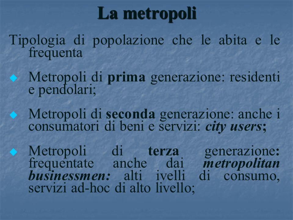 La metropoli Tipologia di popolazione che le abita e le frequenta