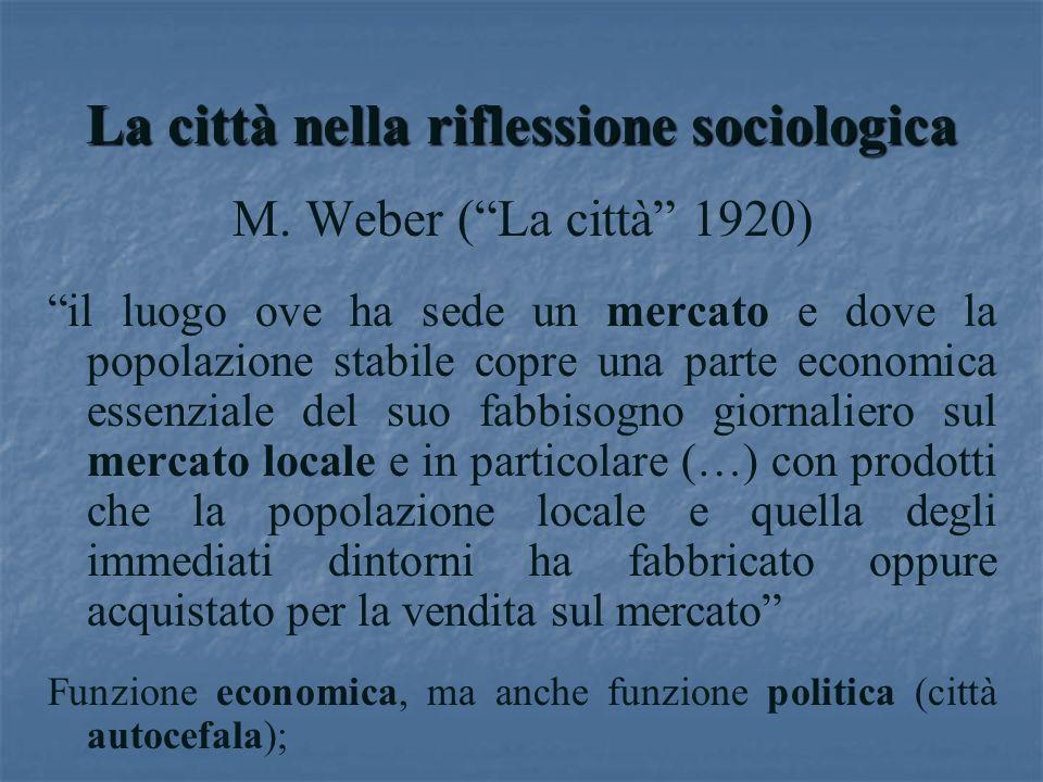 La città nella riflessione sociologica