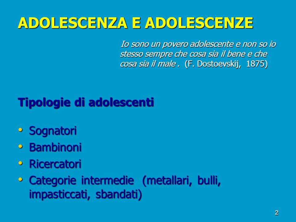 ADOLESCENZA E ADOLESCENZE