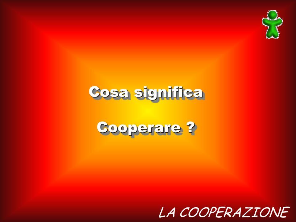 Cosa significa Cooperare LA COOPERAZIONE