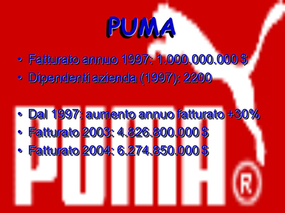 PUMA Fatturato annuo 1997: 1.000.000.000 $