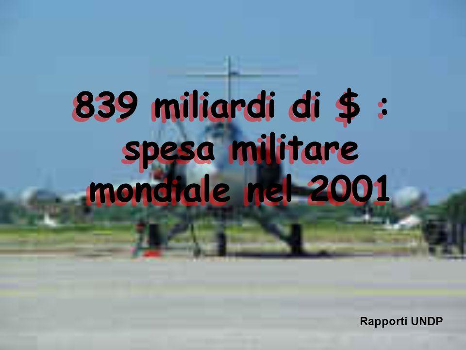 839 miliardi di $ : spesa militare mondiale nel 2001