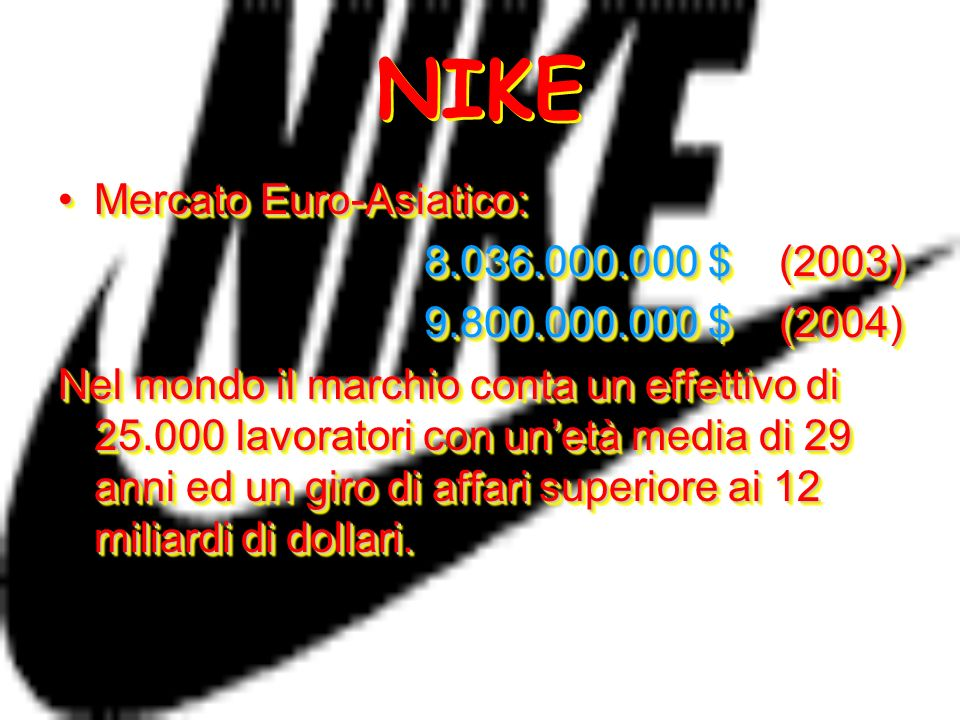 NIKE Mercato Euro-Asiatico: 8.036.000.000 $ (2003)