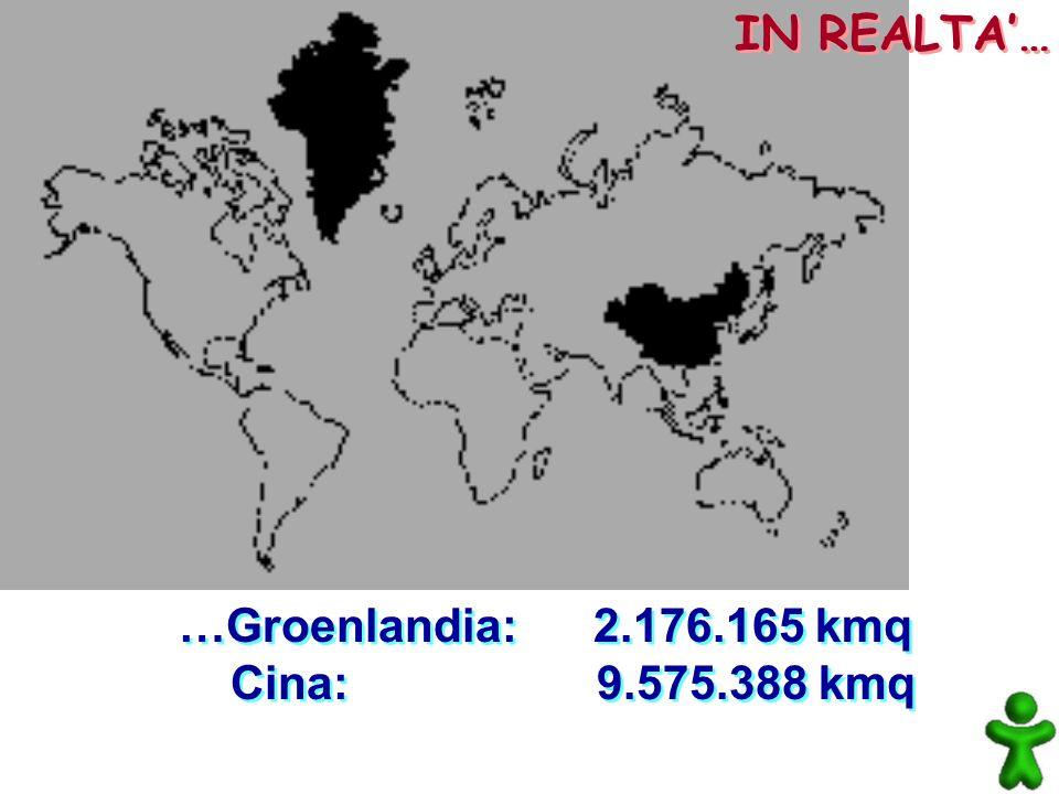 IN REALTA'… …Groenlandia: 2.176.165 kmq Cina: 9.575.388 kmq