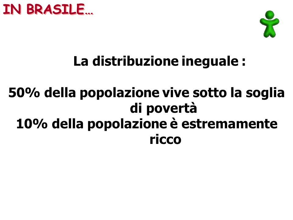 La distribuzione ineguale : 50% della popolazione vive sotto la soglia