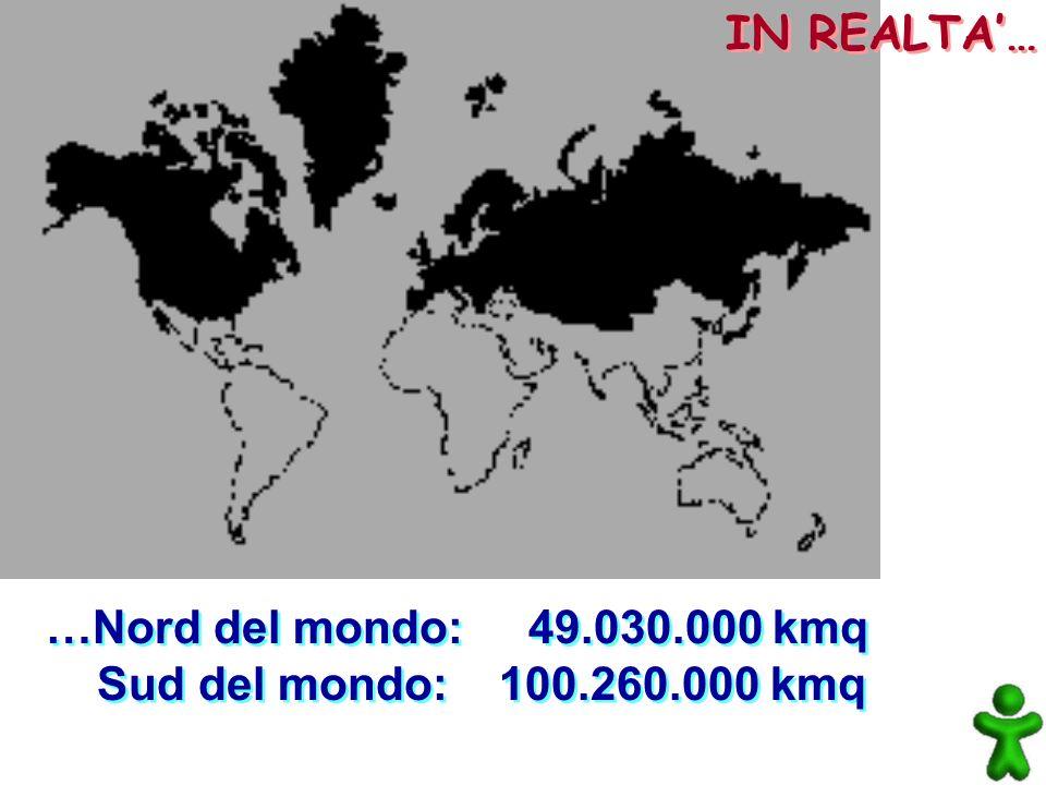 IN REALTA'… …Nord del mondo: 49.030.000 kmq Sud del mondo: 100.260.000 kmq