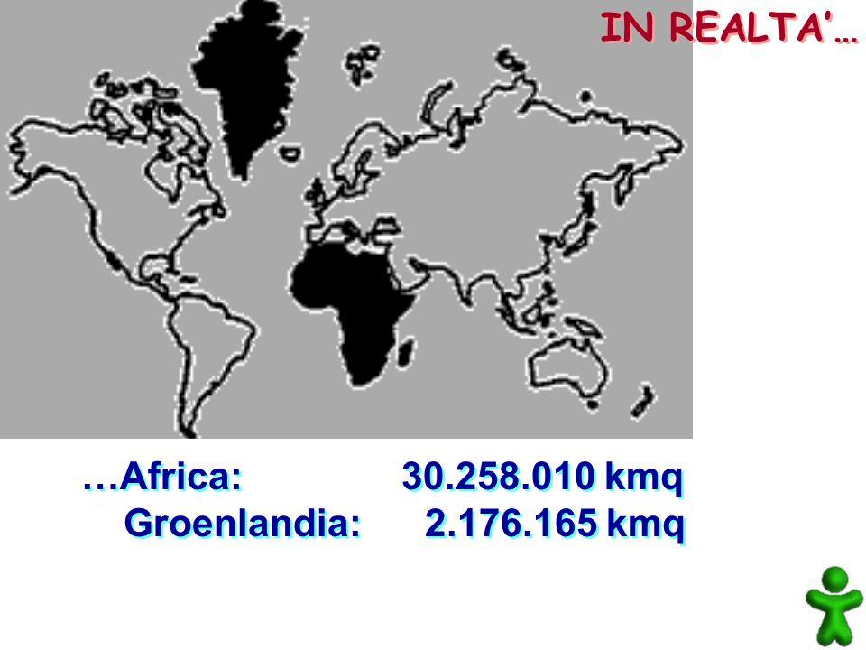IN REALTA'… …Africa: 30.258.010 kmq Groenlandia: 2.176.165 kmq