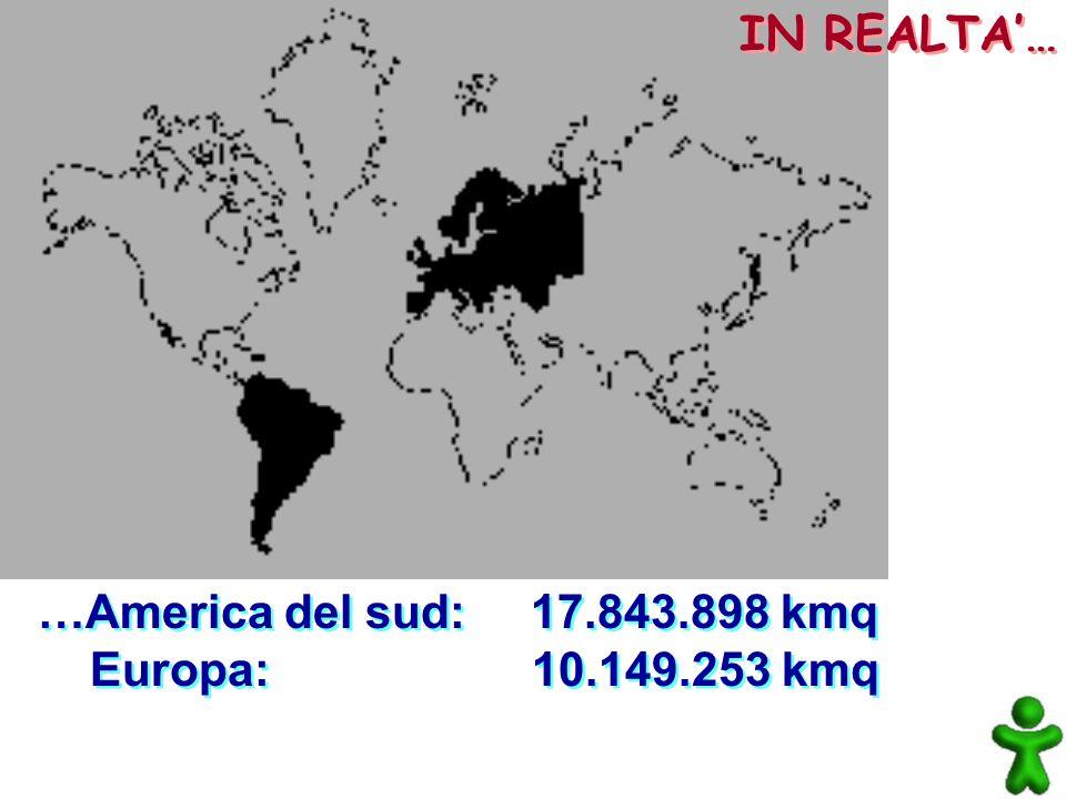 IN REALTA'… …America del sud: 17.843.898 kmq Europa: 10.149.253 kmq