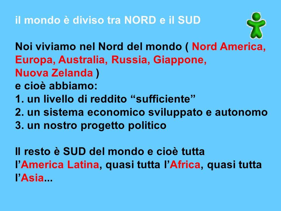 il mondo è diviso tra NORD e il SUD