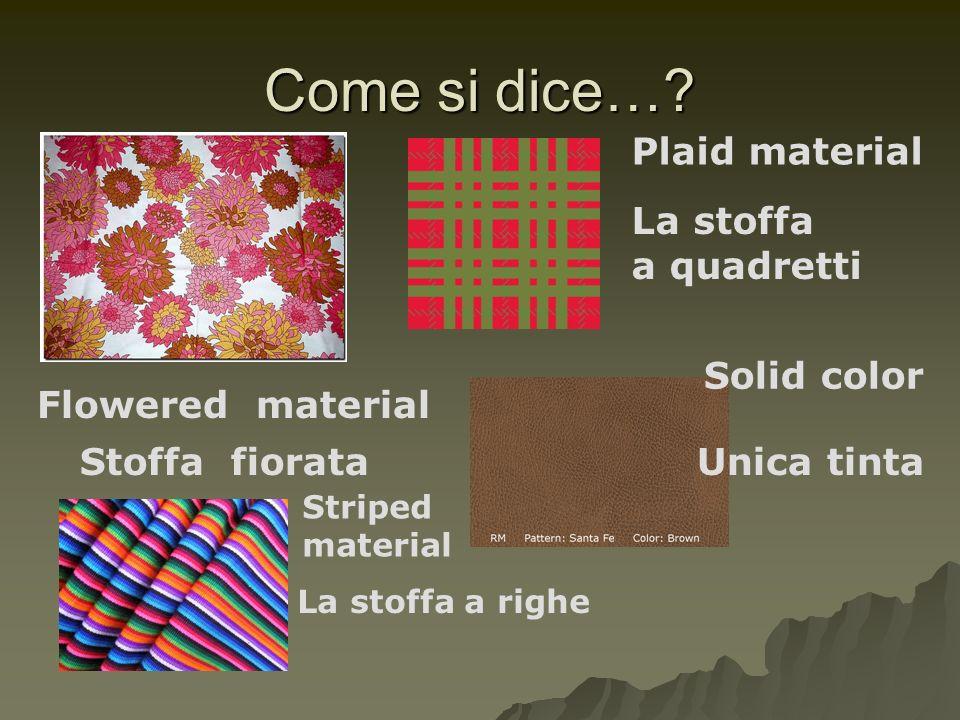 Come si dice… Plaid material La stoffa a quadretti Solid color
