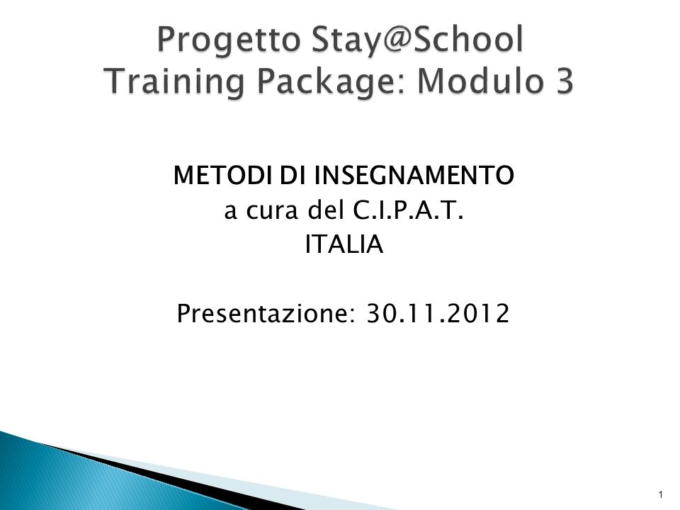 Progetto Stay@School Training Package: Modulo 3