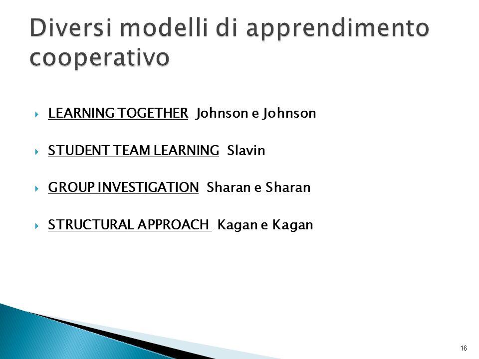 Diversi modelli di apprendimento cooperativo