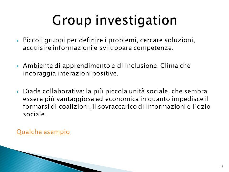 Group investigation Piccoli gruppi per definire i problemi, cercare soluzioni, acquisire informazioni e sviluppare competenze.