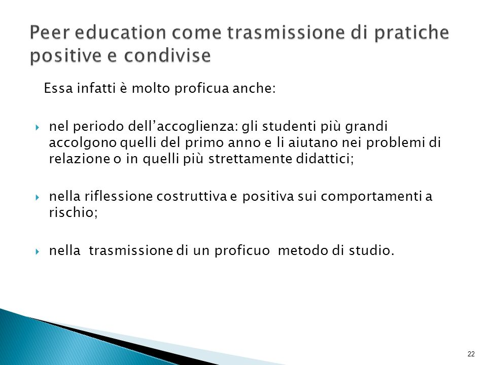 Peer education come trasmissione di pratiche positive e condivise