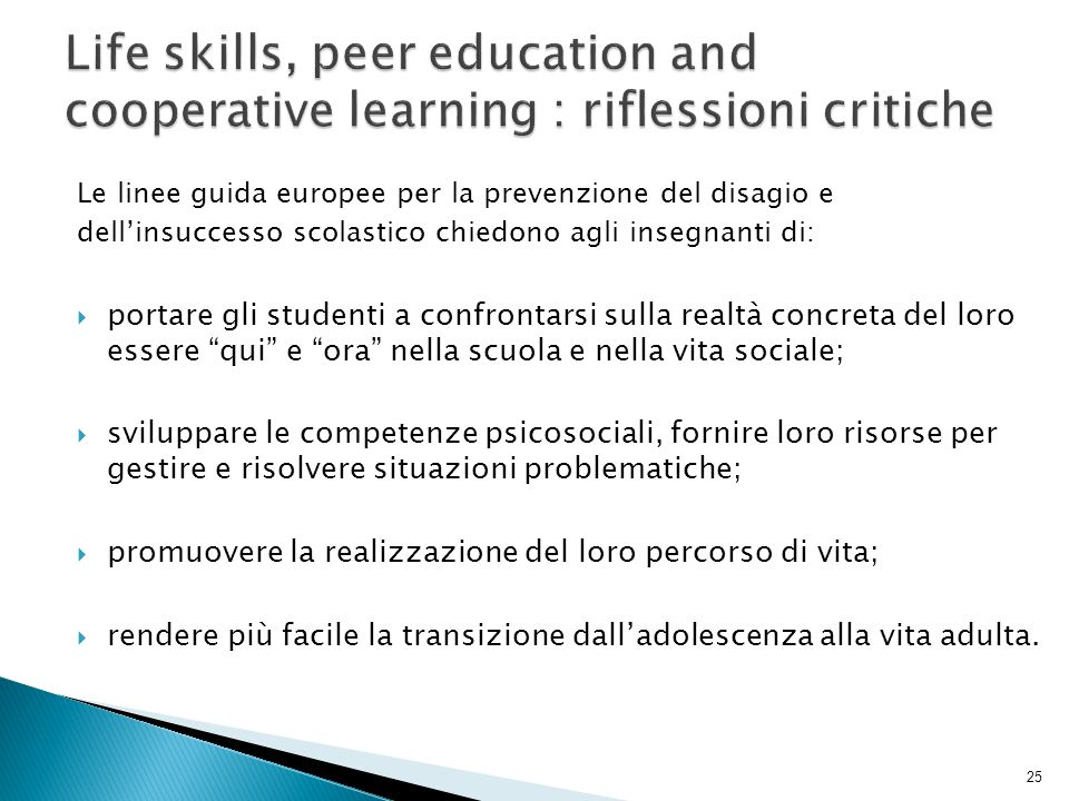 Life skills, peer education and cooperative learning : riflessioni critiche