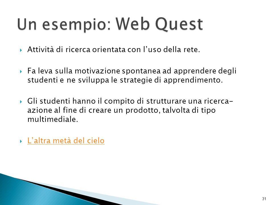 Un esempio: Web Quest Attività di ricerca orientata con l'uso della rete.