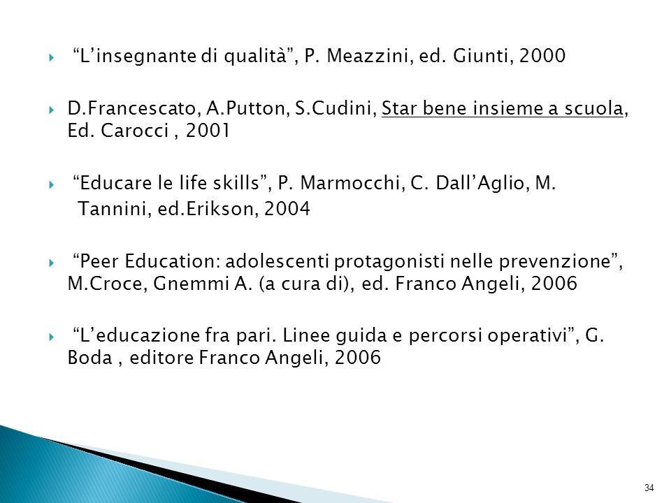 L'insegnante di qualità , P. Meazzini, ed. Giunti, 2000