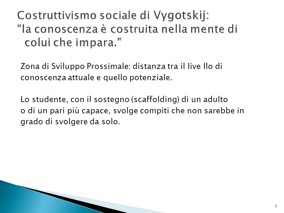 Costruttivismo sociale di Vygotskij: la conoscenza è costruita nella mente di colui che impara.