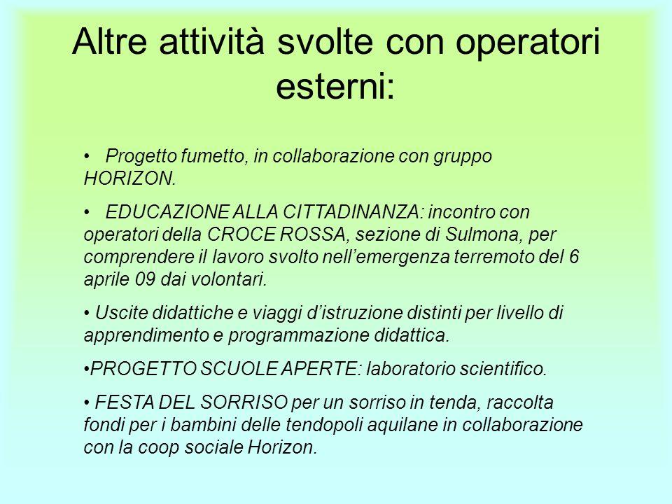 Altre attività svolte con operatori esterni: