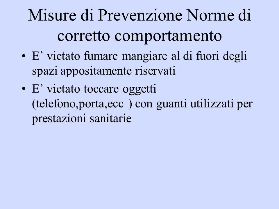 Misure di Prevenzione Norme di corretto comportamento