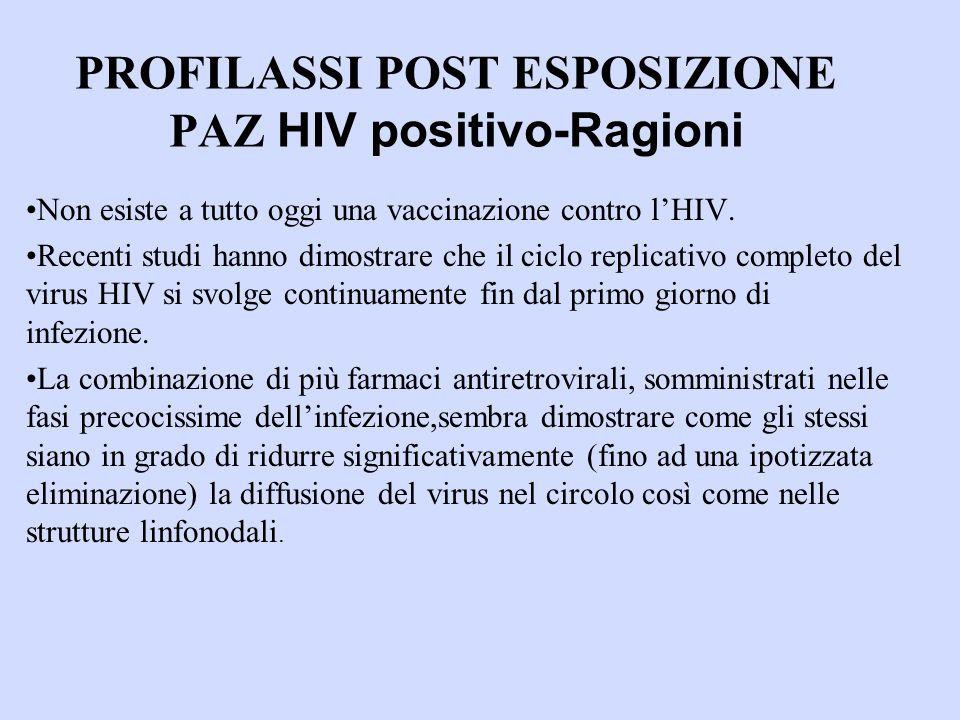 PROFILASSI POST ESPOSIZIONE PAZ HIV positivo-Ragioni