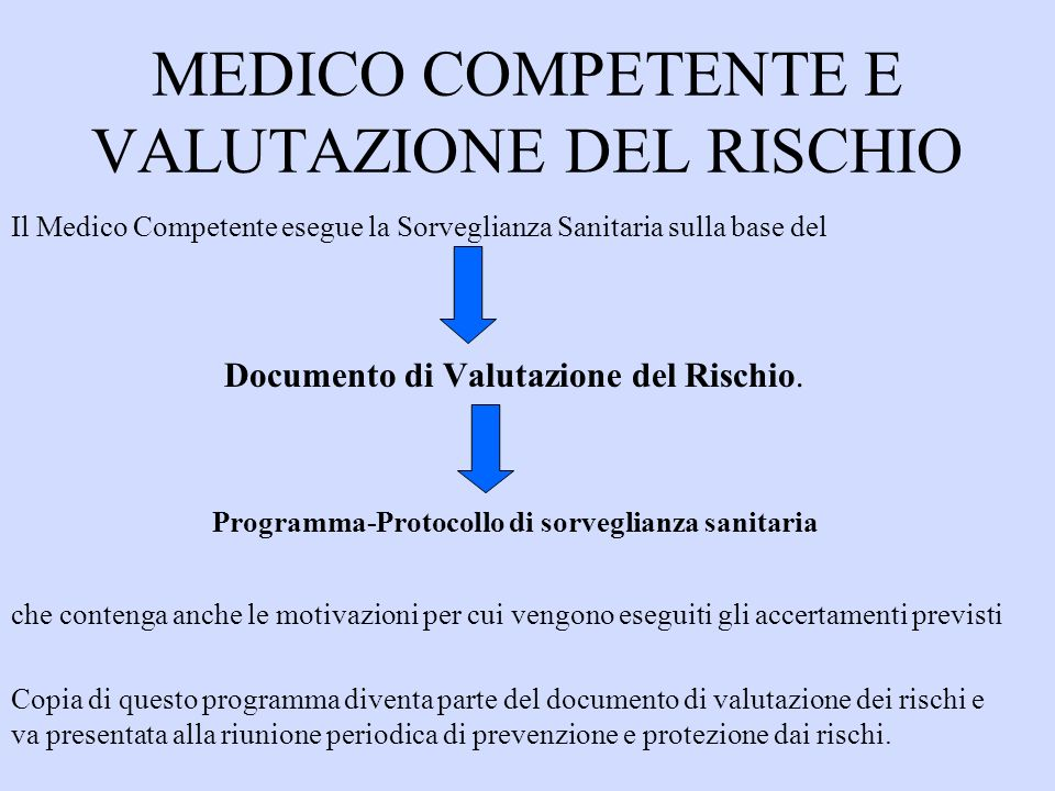 MEDICO COMPETENTE E VALUTAZIONE DEL RISCHIO