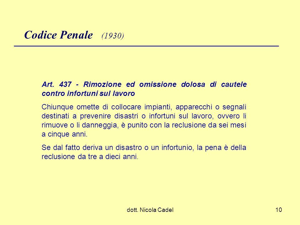 Codice Penale (1930) Art. 437 - Rimozione ed omissione dolosa di cautele contro infortuni sul lavoro.