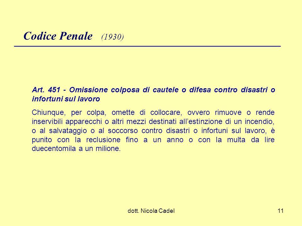 Codice Penale (1930)Art. 451 - Omissione colposa di cautele o difesa contro disastri o infortuni sul lavoro.